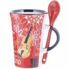 Music Sales Cappuccino Mug Violin Red
