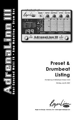 Preset and Drumbeat Listing