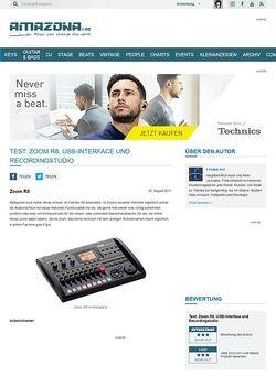 Amazona.de Test: Zoom R8, USB-Interface und Recordingstudio