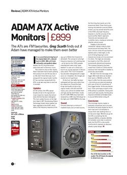 Future Music ADAM A7X Active Monitors