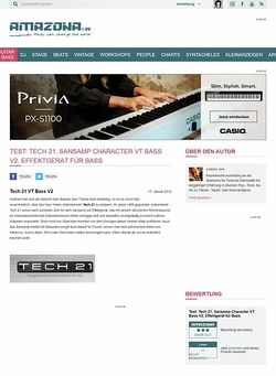 Amazona.de Test: Tech 21, Sansamp Character VT Bass V2, Effektgerät für Bass
