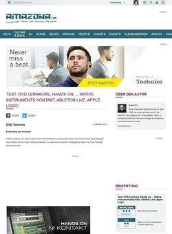 Amazona.de Test: DVD Lernkurs, Hands on..., Native Instruments Kontakt, Ableton Live, Apple Logic