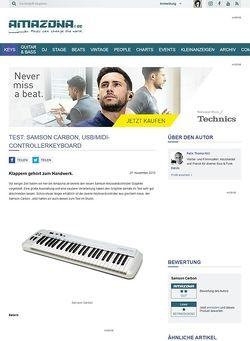 Amazona.de Test: Samson Carbon, USB/MIDI-Controllerkeyboard