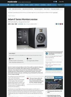 MusicRadar.com Adam F Series Monitors