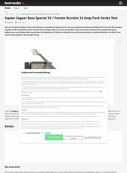 Bonedo.de Squier Jaguar Bass Special SS / Fender Rumble 15 Amp Pack Series
