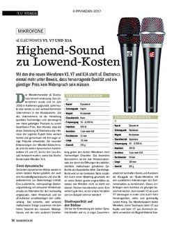 SOUNDCHECK sE ELECTRONICS V3, V7 UND X1A