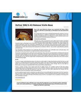 Hofner 500/1-62 Reissue Violin Bass