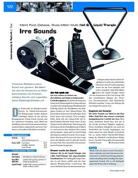 Instrumente & Technik: Meinl Foot Cabasa, Russ Miller Multi Bell & Liquid Triangle